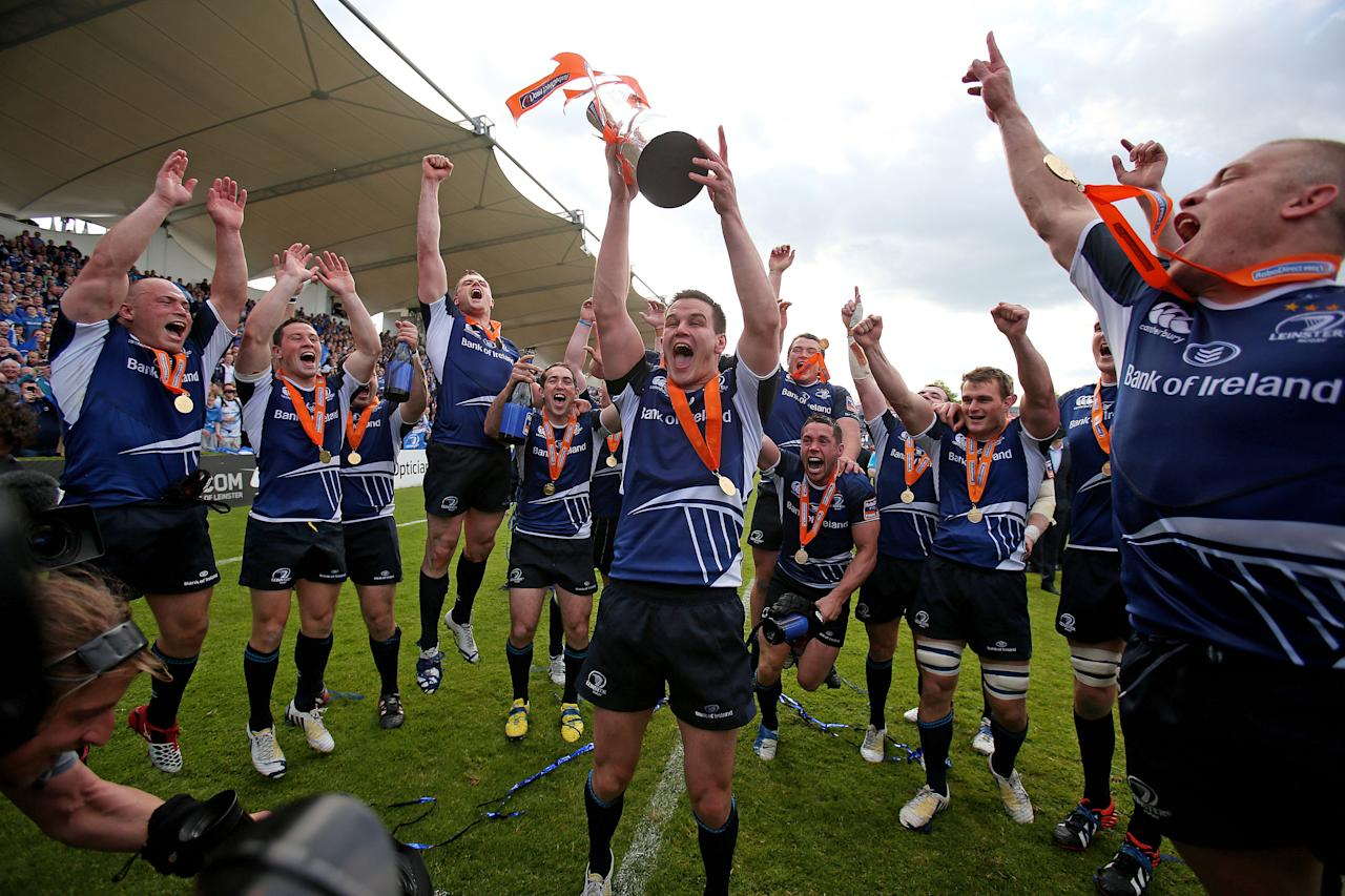 Leinster's Jonny Sexton celebrates with the trophy during the RaboDirect PRO12 Final at the RDS, Dublin, Ireland.