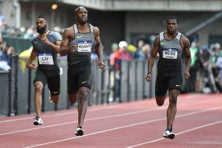Jul 8, 2016; Eugene, OR, USA; Tyson Gay (left) and LaShawn Merritt (middle) and Ameer Webb (right) compete during the men's 200m semifinals in the 2016 U.S. Olympic track and field team trials at Hayward Field. Mandatory Credit: James Lang-USA TODAY Sports