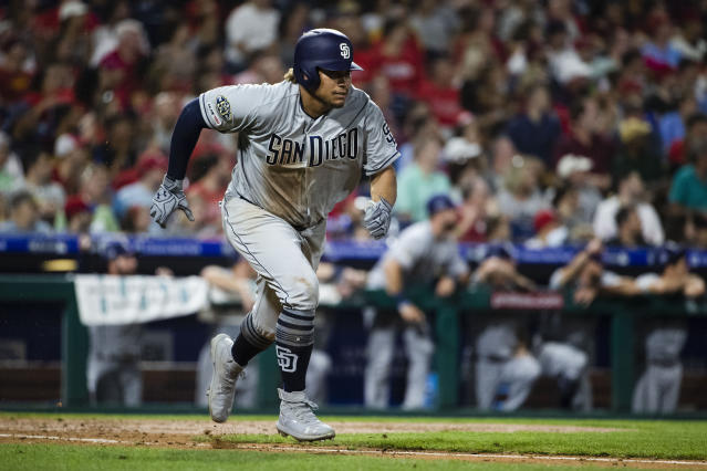 San Diego Padres' Josh Naylor runs to first after hitting a double with two runs batted in off Philadelphia Phillies' Zach Eflin during the fourth inning of a baseball game Saturday, Aug. 17, 2019, in Philadelphia. (AP Photo/Matt Rourke)