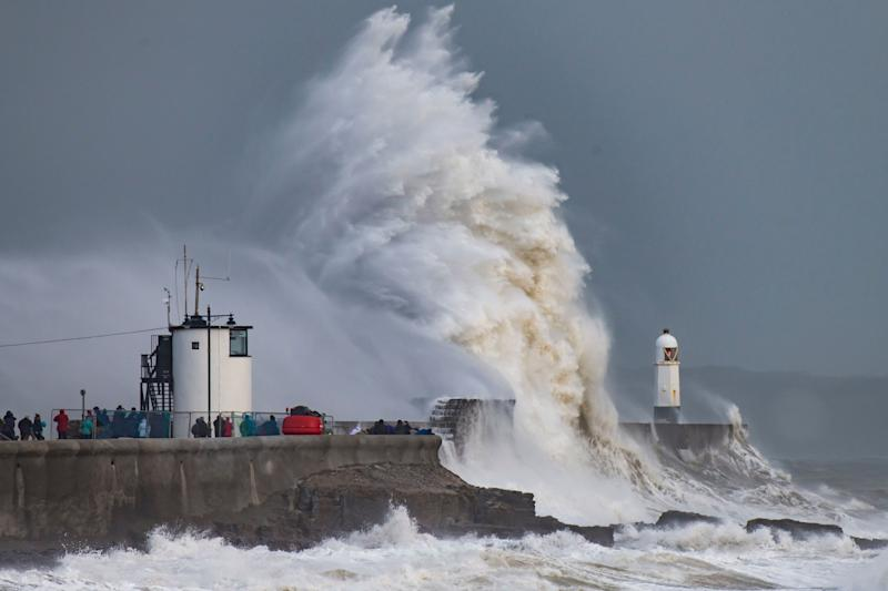Waves crash against the harbour wall during Storm Freya on March 3 at Porthcawl, Wales. The Met Office have issued a yellow weather warning for wind and have warned of the potential for large waves and spray at coastal locations. (Photo: Matthew Horwood/Getty Images)