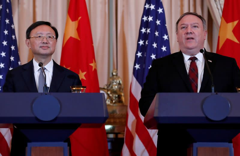 FILE PHOTO: U.S. Secretary of State Mike Pompeo and Defense Secretary James Mattis hold a joint news conference with Chinese officials in Washington