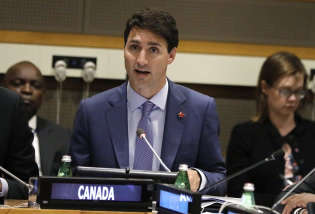 Canadian Prime Minister Justin Trudeau at United Nations Headquarters in New York, New York on Sept. 25 2018.