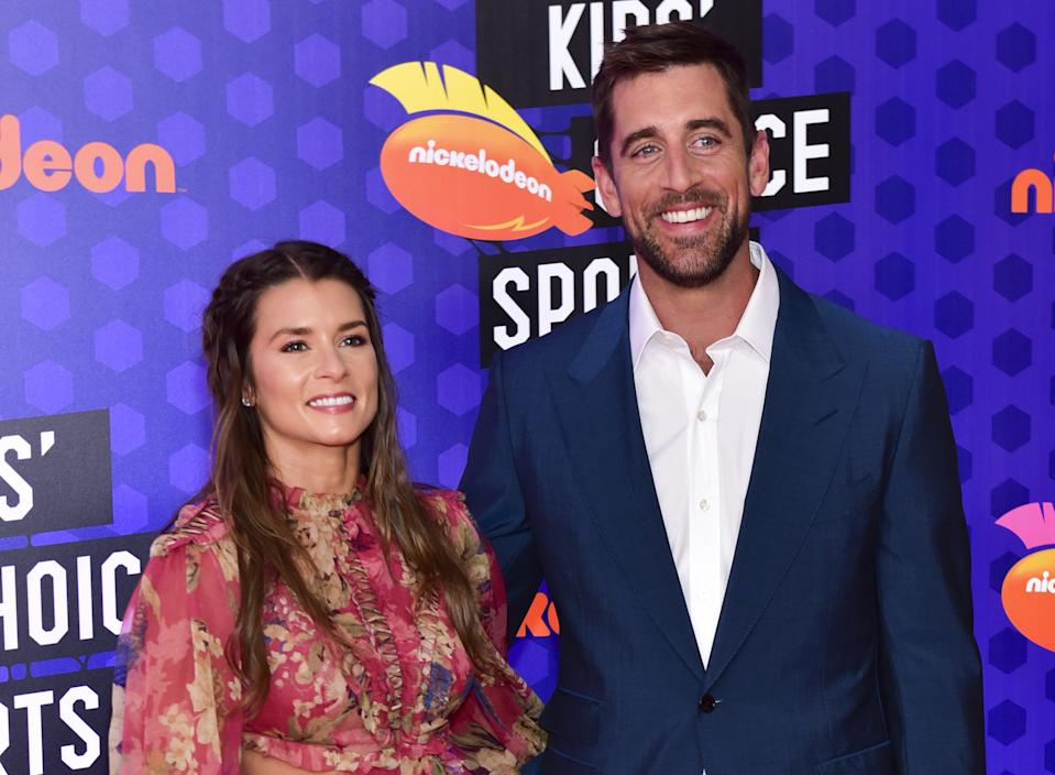 Danica Patrick and Aaron Rodgers at the 2018 Nickelodeon Kids' Choice Sports Awards in Los Angeles.