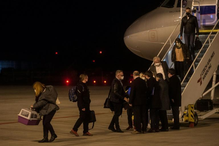 Czech diplomats expelled by Russia land in Prague