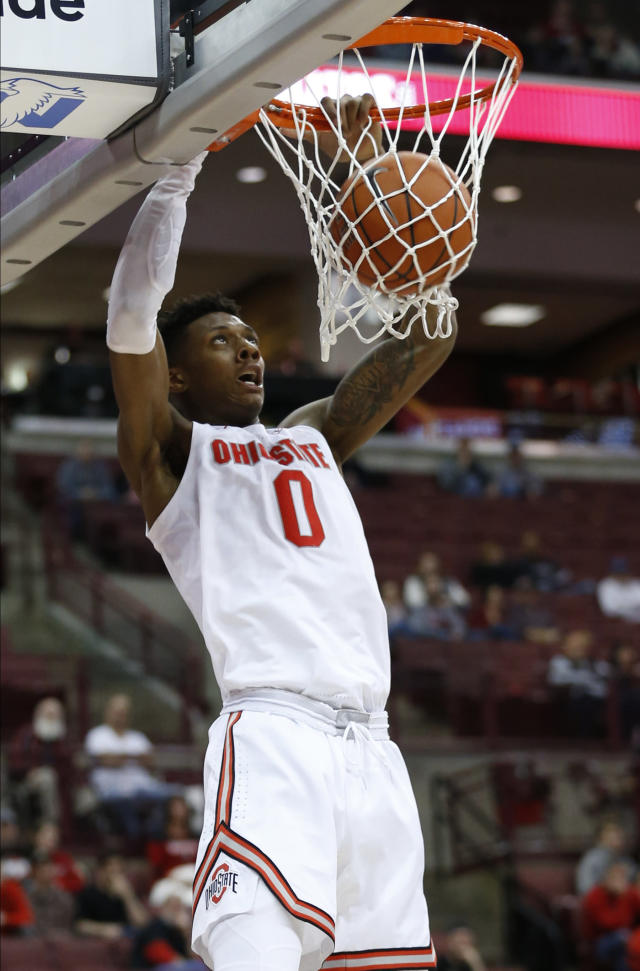 Ohio State's Alonzo Gaffney dunks the ball against Morgan State during the second half of an NCAA college basketball game Friday, Nov. 29, 2019, in Columbus, Ohio. Ohio State beat Morgan State 90-57. (AP Photo/Jay LaPrete)
