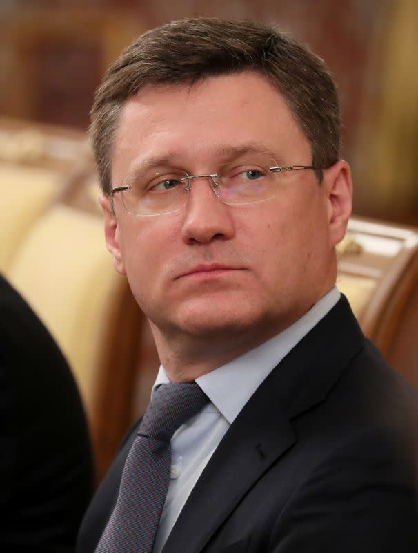 Russian Energy Minister Alexander Novak attends a government meeting in Moscow