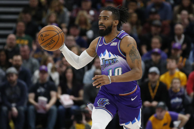 Utah Jazz guard Mike Conley (10) brings the ball up court in the second half during an NBA basketball game against the Houston Rockets Monday, Jan. 27, 2020, in Salt Lake City. (AP Photo/Rick Bowmer)