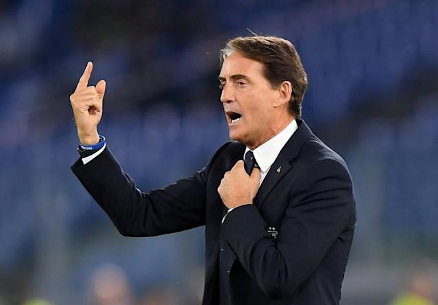 FILE PHOTO: Italy coach Roberto Mancini gestures during their Euro 2020 qualifier against GreeceGreece