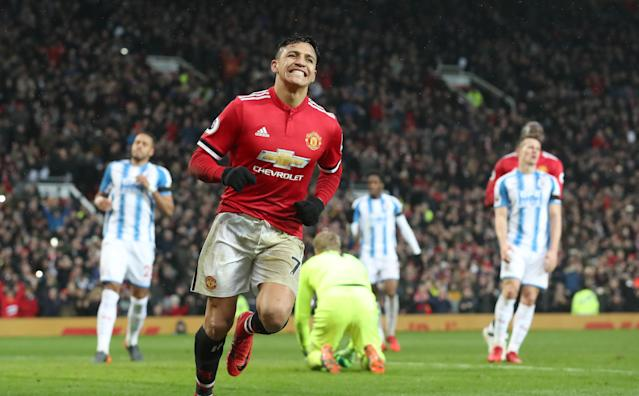 Alexis Sanchez celebrates his first goal for Manchester United. (Getty)
