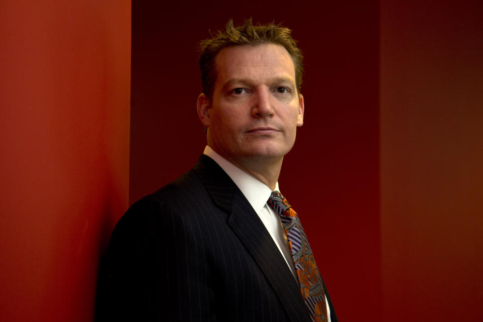 <p> Mandiant founder and CEO Kevin Mandia is seen in his office in Alexandria, Va., Wednesday, Feb. 20, 2013. Mandiant, started in 2004 by Mandia, a private technology security firm described in extraordinary detail efforts it blamed on a Chinese military unit to hack into 141 businesses, mostly inside the U.S., and steal commercial secrets. China denies the claim. (AP Photo/Jacquelyn Martin) </p>
