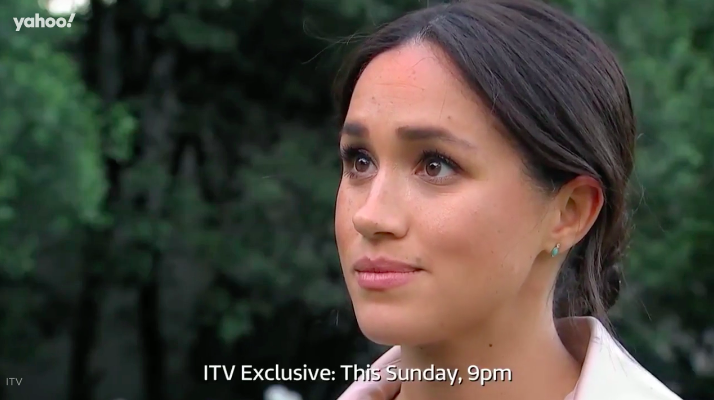 A visibly emotional Meghan revealed that she's 'not ok' in the documentary [Photo: ITV]