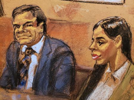 """Accused Mexican drug lord Joaquin """"El Chapo"""" Guzman and his wife Emma Coronel Aispuro looks on in this courtroom sketch, during closing arguments at his trial in Brooklyn federal court in New York City"""