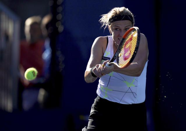 Anastasia Pavlyuchenkova, of Russia, returns a shot to Kiki Bertens, of the Netherlands, during the second round of the US Open tennis championships Thursday, Aug. 29, 2019, in New York. (AP Photo/Michael Owens)