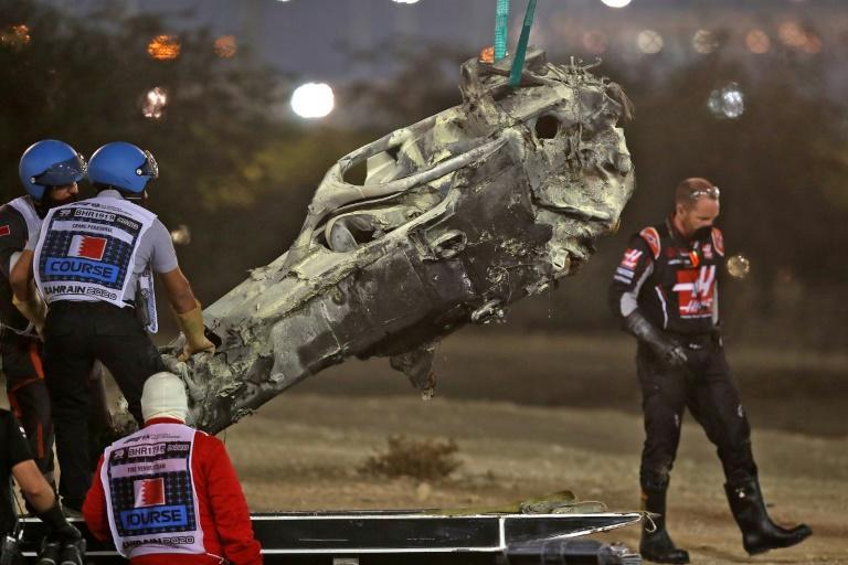 Romain Grosjean remarkably walked away from a horrific crash on the opening lap that left his car a burning wreck