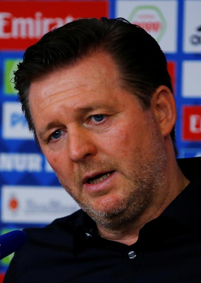 Soccer Football - Bundesliga - Hamburger SV v Borussia Moenchengladbach - Volksparkstadion, Hamburg, Germany - May 12, 2018 Hamburg coach Christian Titz during a press conference after the match REUTERS/Morris Mac Matzen DFL RULES TO LIMIT THE ONLINE USAGE DURING MATCH TIME TO 15 PICTURES PER GAME. IMAGE SEQUENCES TO SIMULATE VIDEO IS NOT ALLOWED AT ANY TIME. FOR FURTHER QUERIES PLEASE CONTACT DFL DIRECTLY AT + 49 69 650050