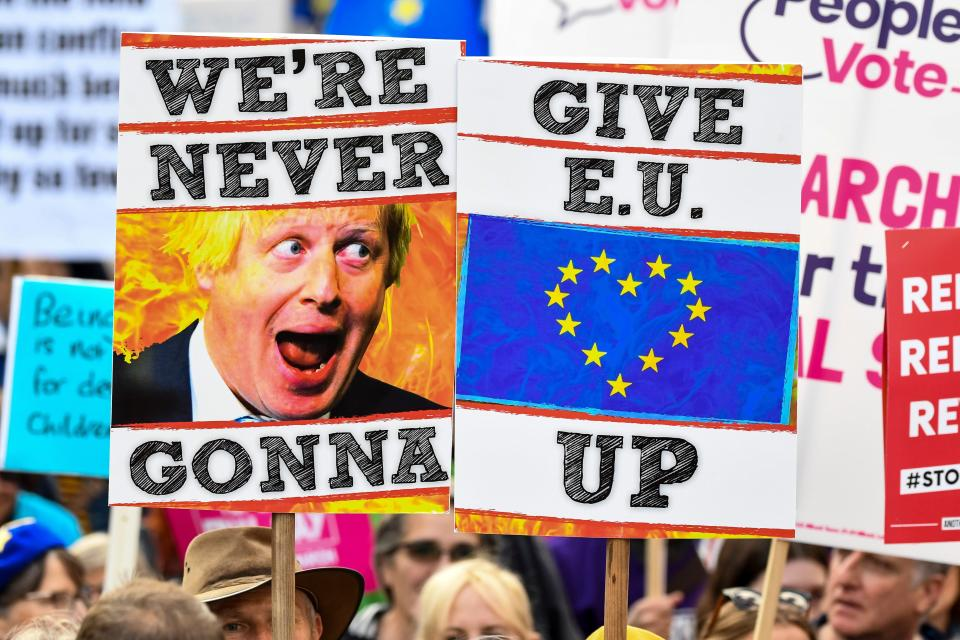 Demonstrators hold placards and EU and Union flags as they take part in a march by the People's Vote organisation in central London on October 19, 2019, calling for a final say in a second referendum on Brexit. Photo: NIKLAS HALLE'N/AFP via Getty Images