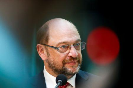 Social Democratic Party (SPD) leader Martin Schulz gives a statement after meeting Benoit Hamon, French Socialist party 2017 presidential candidate in Berlin
