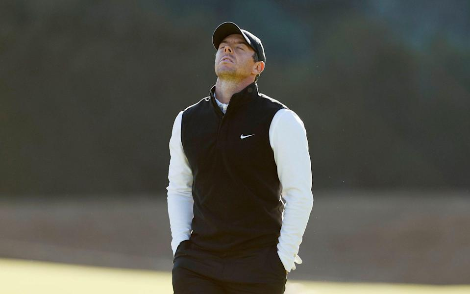 Rory McIlroy of Northern Ireland reacts on the 14th green during the second round of The Genesis Invitational at Riviera Country Club on February 19, 2021 in Pacific Palisades, California. - GETTY IMAGES