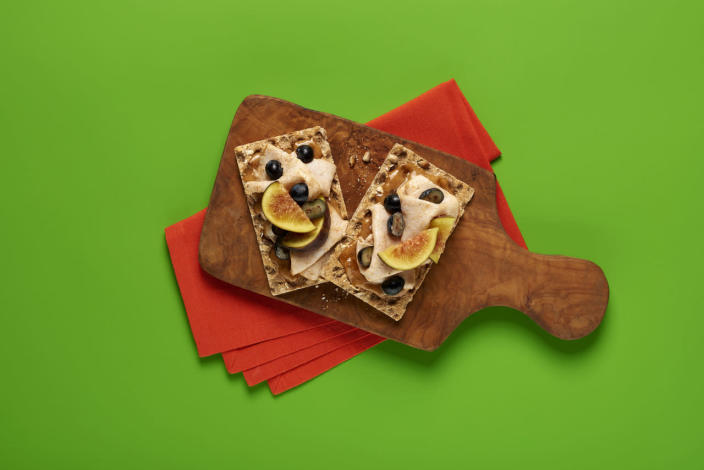 """<p>For a lighter option, top a Ryvita with a mixture of sliced chicken, mayo, mango chutney, curry powder, cinnamon, lime juice, raisins and figs. It's just one of Ryvita's new <a href=""""https://www.ryvita.co.uk/recipes"""" rel=""""nofollow noopener"""" target=""""_blank"""" data-ylk=""""slk:science-inspired recipes"""" class=""""link rapid-noclick-resp"""">science-inspired recipes</a> - and tastes spot on.<i> [Photo: Ryvita]</i></p>"""