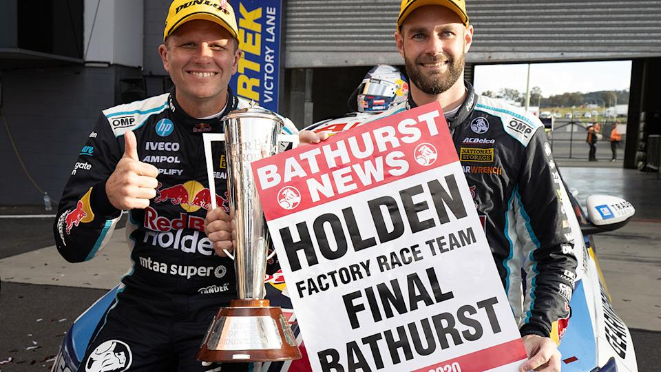 Garth Tander and Shane Van Gisbergen are pictured after winning the 2020 Bathurst 1000.