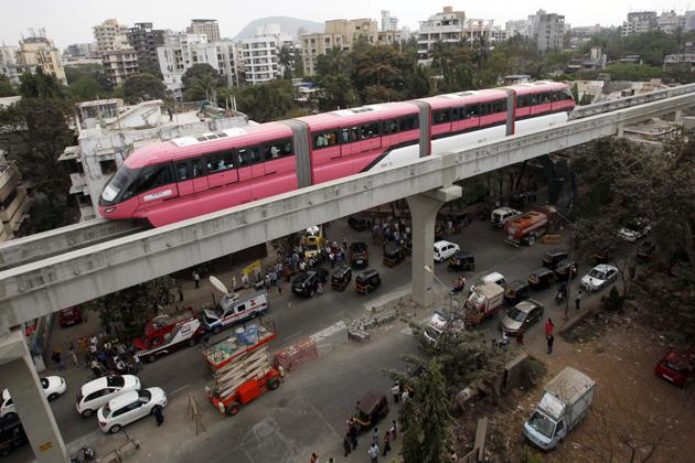 MUMBAI, INDIA - FEBRUARY 16: Mono Rail test drvie between Wadala and Chembur on February 16, 2013 in Mumbai, India. The 19.54 km long Chembur-Wadala-Jacob Circle monorail project will be the country's first monorail route and is expected to be operational by August this year. (Photo by Anshuman Poyrekar/Hindustan Times via Getty Images)