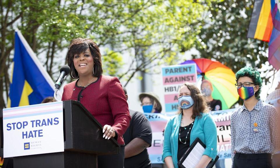 Carmarion D Anderson-Harvey, the Human Rights Campaign Alabama state director, speaks on 30 March 2021 at the #LoveALTransYouth press conference in Montgomery, Alabama.