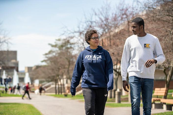 "Ithaca College students stroll the quad on the upstate New York Campus. As a woman of color leading a predominantly white institution, Ithaca president Shirley Collado has spoken frankly about what it's like to be the ""only"" in the room, and why institutions of higher education must lead in diversity, equity and inclusion."