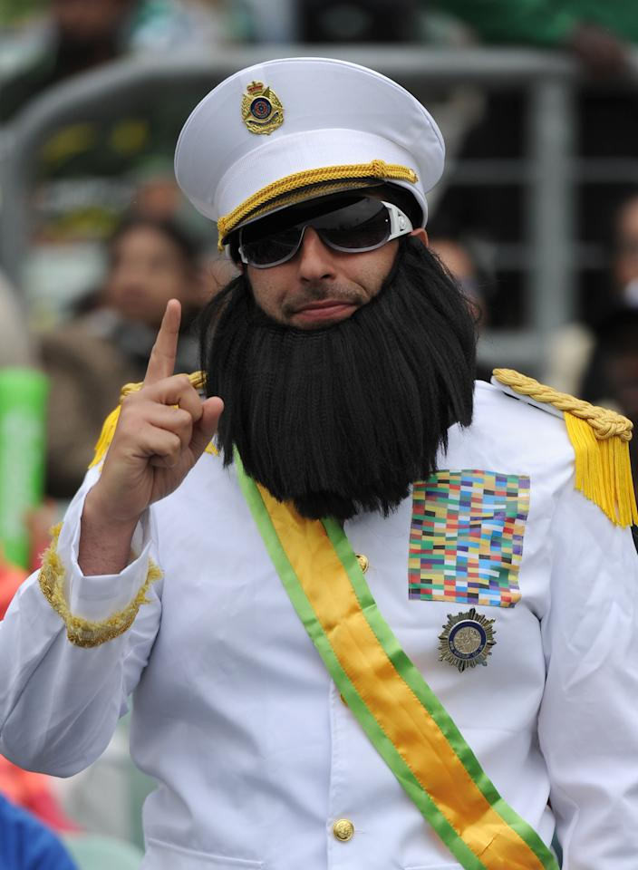 A fan in fancy dress during the ICC Champions Trophy match at The Oval, London.