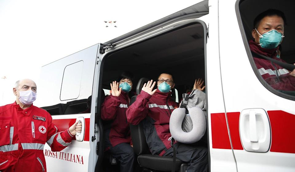 Xi Jinping promised to send Chinese medical support teams to Serbia, like this one that was deployed to Italy. Photo: AP
