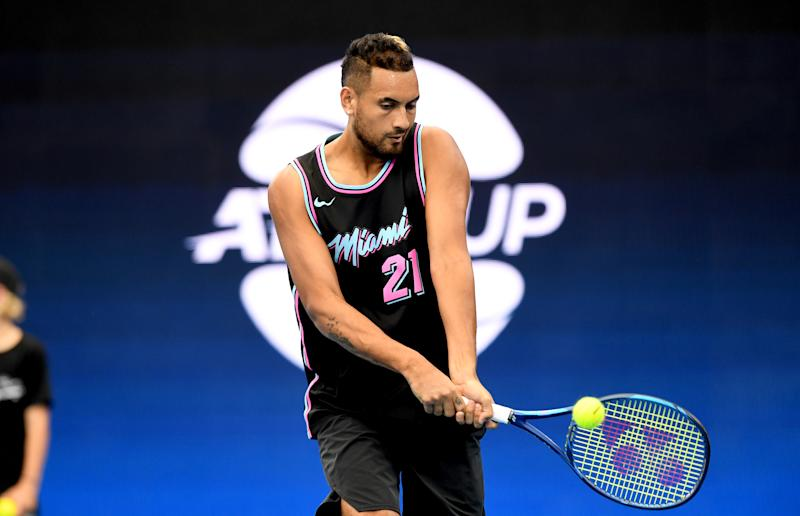 Nick Kyrgios of Australia plays a backhand in practice ahead of the 2020 ATP Cup Group Stage at Pat Rafter Arena on January 01, 2020 in Brisbane, Australia. (Photo by Bradley Kanaris/Getty Images)