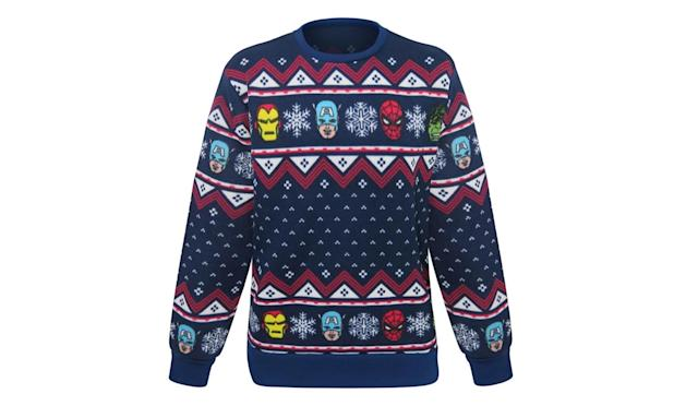 "<p>Hulk, Iron Man, Spider-Man, and Captain America… they're all there, in full knitted polyester glory. <a href=""https://www.superherostuff.com/avengers/sweaters/marvel-avengers-ugly-mens-christmas-sweater.html?itemcd=swtravngugly"" rel=""nofollow noopener"" target=""_blank"" data-ylk=""slk:Buy here"" class=""link rapid-noclick-resp""><strong>Buy here</strong></a> </p>"