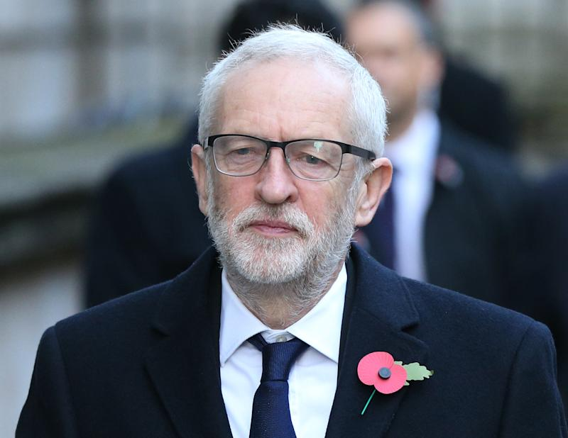 Labour Party leader Jeremy Corbyn in Downing Street arriving for the Remembrance Sunday service at the Cenotaph memorial in Whitehall, central London.