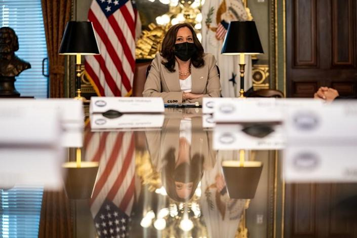 WASHINGTON, DC - AUGUST 12: Vice President Kamala Harris meets with CEOs on the care economy in the Vice President's Ceremonial Office in the Eisenhower Executive Office Building at the White House complex on Thursday, Aug. 12, 2021 in Washington, DC. (Kent Nishimura / Los Angeles Times)