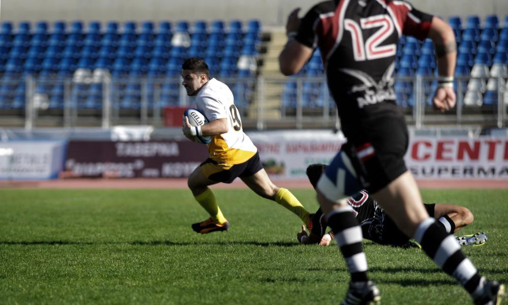 Buhran Torgut runs with the ball during Cyprus' home European Nations Cup match against Austria in November 2013. Cyprus won 22-8, the 21st win in their sequence of 24.