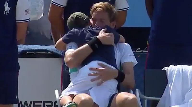 And then Natanel showed up for a beautiful hug. Pic: Tennis Channel