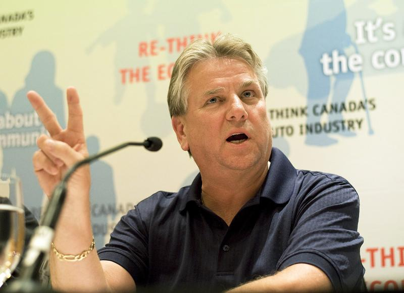 CAW President Ken Lewenza speaks at a press conference in Toronto Thursday Sept. 20, 2012. The Canadian Auto Workers union reached a tentative agreement with General Motors on Thursday, making Chrysler the final of the Detroit big three still to sign a deal with the union. (AP Photo/The Canadian Press, Aaron Vincent Elkaim)
