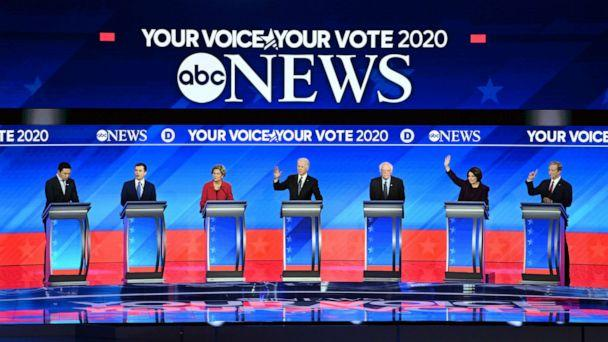 PHOTO: Candidates during the Democratic presidential debate hosted by ABC News, Apple News, and WMUR-TV at Saint Anselm College in Manchester, N.H., on Feb. 7, 2020. (Lorenzo Bevilaqua/ABC)