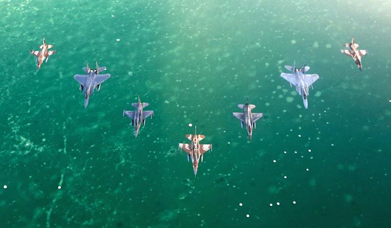israeli air force formation blue flag israel