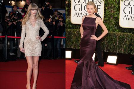 <p>After a rather ordinary appearance in Donna Karan at the Golden Globes (right), we were pleased to see Swift dressing more age appropriately and showing off those amazing pins at the NRJ Music Awards in a hot Ellie Saab mini.</p>