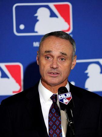 Aug 14, 2014; Baltimore, MD, USA; Newly elected commissioner of baseball Rob Manfred speaks at a press conference after being elected by team owners to be the next commissioner of Major League Baseball. Mandatory Credit: H.Darr Beiser-USA TODAY Sports