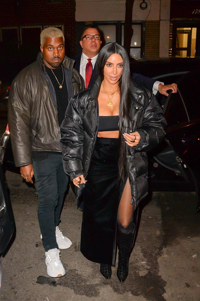 Kanye West and Kim Kardashian go out on a date night in February 2017. (Photo: Raymond Hall/GC Images)