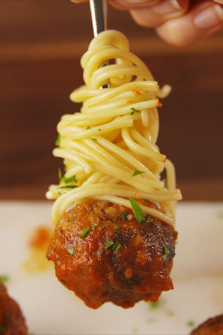 """<p>Who says spaghetti can't be an app?</p><p>Get the recipe from <a href=""""https://www.delish.com/cooking/recipe-ideas/recipes/a56747/spaghetti-and-meatball-bites-recipe/"""" rel=""""nofollow noopener"""" target=""""_blank"""" data-ylk=""""slk:Delish"""" class=""""link rapid-noclick-resp"""">Delish</a>. </p>"""