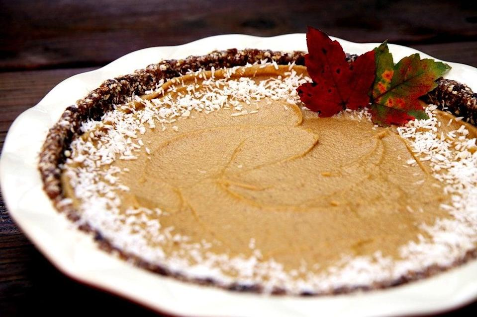 "<p>Pumpkin pie sounds healthy - it's made from pumpkins, right? - but the crust is mostly butter and white flour, and the cream in the filling is high in saturated fat. Your heart will love you if you whip up this version, which is completely raw, vegan, and gluten-free. Did we mention it tastes good, too?</p> <p><strong>Get the recipe:</strong> <a href=""https://www.popsugar.com/fitness/Raw-Vegan-Pumpkin-Pie-Recipe-31964523"" class=""link rapid-noclick-resp"" rel=""nofollow noopener"" target=""_blank"" data-ylk=""slk:raw, vegan, gluten-free pumpkin pie"">raw, vegan, gluten-free pumpkin pie</a></p>"