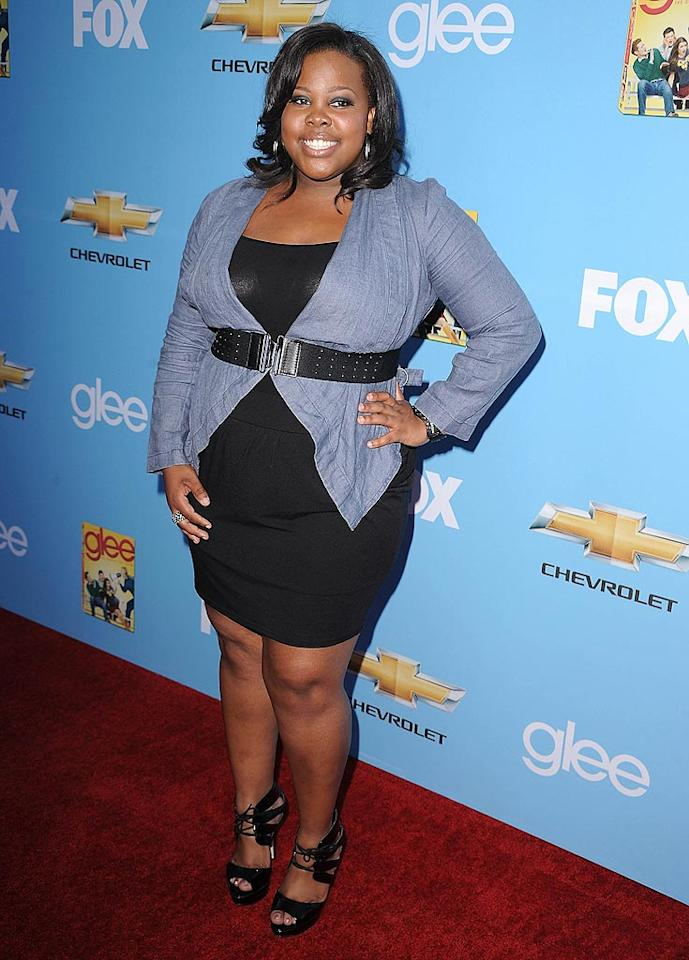 "Amber Riley paired her LBD with a belted blouse. Are you a fan? Steve Granitz/<a href=""http://www.wireimage.com"" target=""new"">WireImage.com</a> - September 7, 2010"