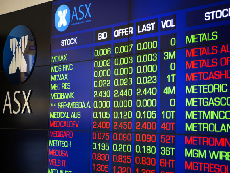 Sydney, Australia - March 11, 2015: The Australian Stock market stock prices on a LCD display outside of the Australian stock market. The Company logo ASX can be seen on the top left side of the photo