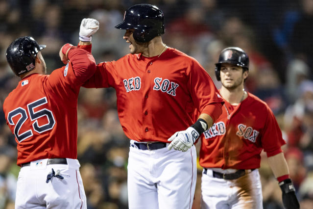 """The Boston <a class=""""link rapid-noclick-resp"""" href=""""/mlb/teams/bos"""" data-ylk=""""slk:Red Sox"""">Red Sox</a> held on against the <a class=""""link rapid-noclick-resp"""" href=""""/mlb/teams/nyy"""" data-ylk=""""slk:New York Yankees"""">New York Yankees</a> in Game 1 of the ALDS. (Getty Images)"""