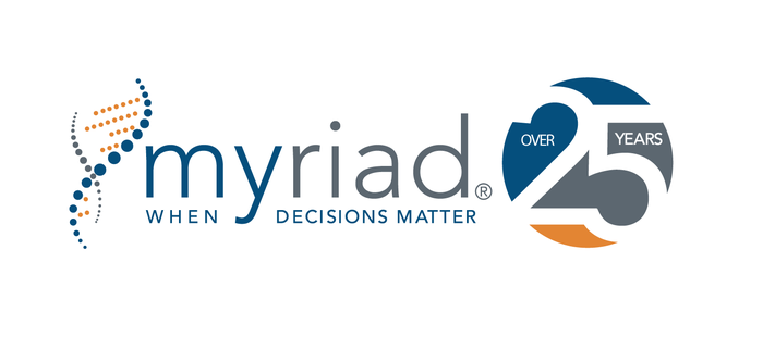 Myriad logo and slogan with 25-year celebration graphic.