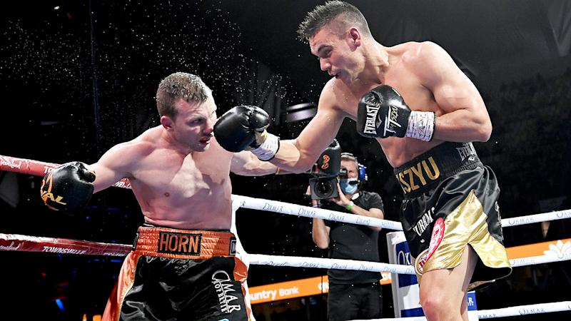 Tim Tszyu, pictured here landing a punch on Jeff Horn during their fight in Townsville.