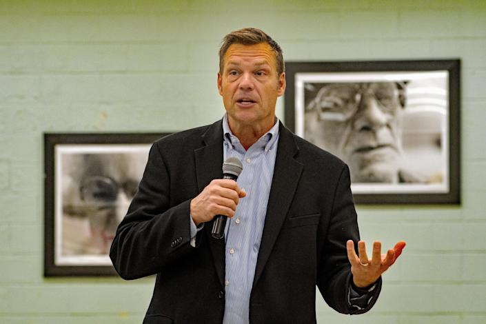 Then-gubernatorial candidate Kris Kobach talks about the upcoming election in Emporia, Kan., in October 2018. (Mark Reinstein/Corbis via Getty Images)