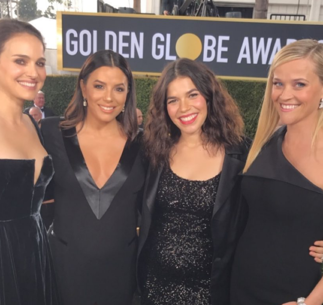 Natalie Portman, Eva Longoria, America Ferrera, and Reese Witherspoon share a moment. (Photo: America Ferrera via Instagram)